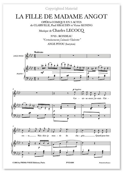 """Lecocq • FILLE DE MADAME ANGOT (LA) • """"Certainement j'aimais Clairette""""(baryton)"""