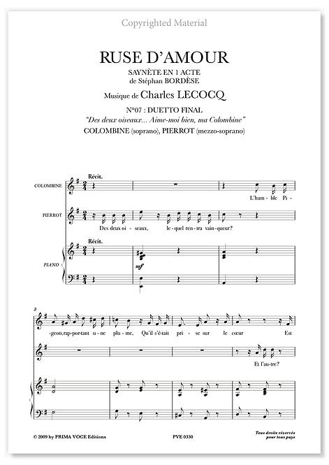 """Lecocq • RUSE D'AMOUR • """"Aime-moi bien, ma Colombine"""" (sop./mezzo)"""