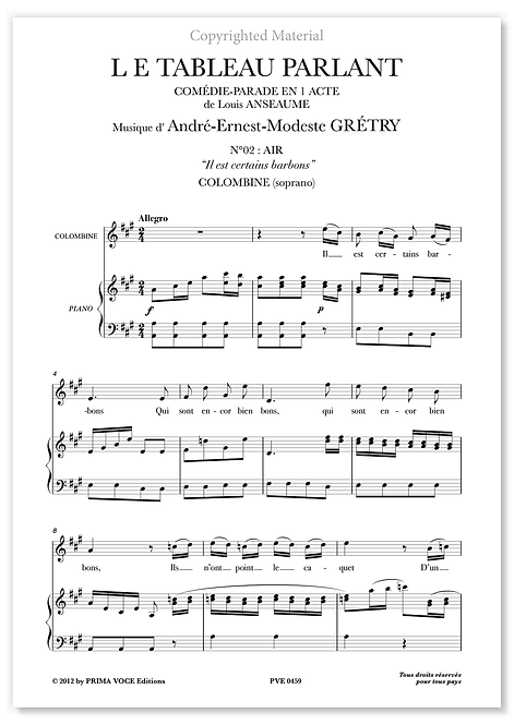 """Grétry • TABLEAU PARLANT (LE) • """"Il est certains barbons"""" (soprano)"""