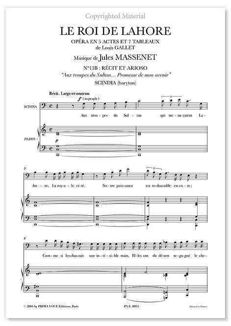 """Massenet • ROI DE LAHORE (LE) • """"Promesse de mon avenir"""" (baryton)"""