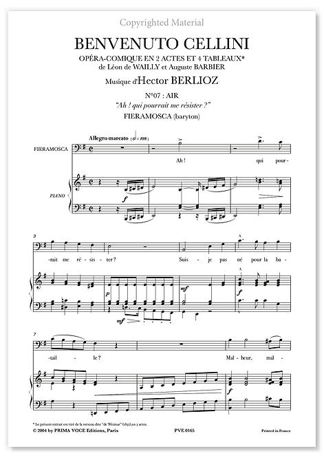 """Berlioz • BENVENUTO CELLINI • """"Ah ! qui pourrait me résister ?"""" (baryton)"""