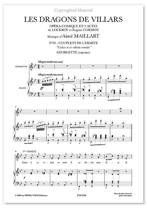 """Maillart • DRAGONS DE VILLARS (LES) • """"Grâce à ce vilain ermite"""" (soprano)"""