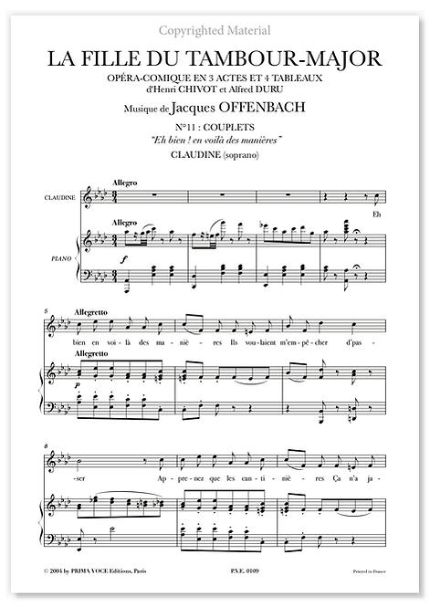 """Offenbach • FILLE DU TAMBOUR-MAJOR (LA) """"Eh bien ! en voilà des manières"""" (sop.)"""