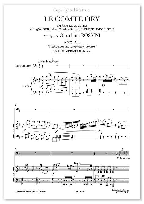 """Rossini • COMTE ORY (LE) • """"Veiller sans cesse, craindre toujours"""" (basse)"""