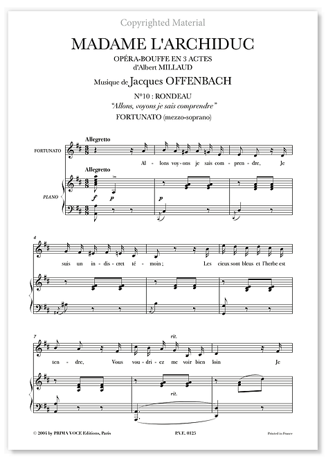 "Offenbach • MADAME  L'ARCHIDUC • ""Allons, voyons je sais comprendre"" (mezzo.)"