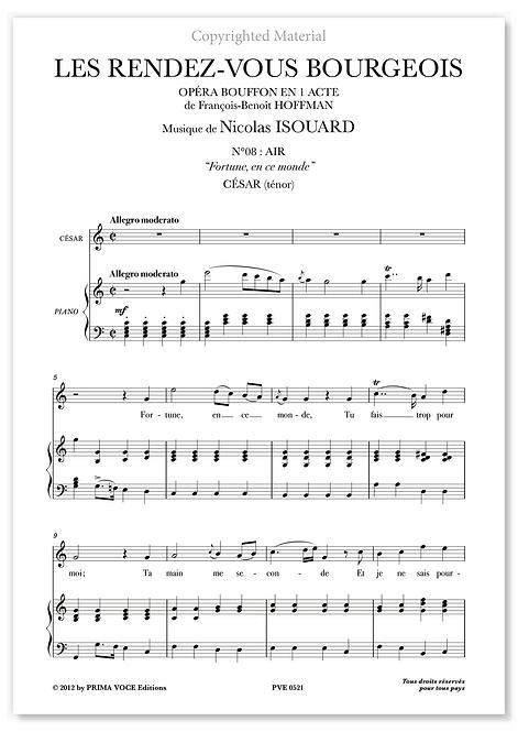 """Isouard • RENDEZ-VOUS BOURGEOIS (LES) • """"Fortune, en ce monde"""" (ténor)"""
