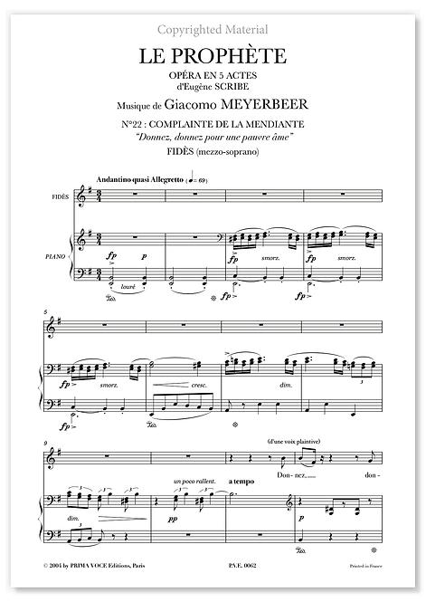 """Meyerbeer • PROPHÈTE (LE) • """"Donnez, donnez pour une pauvre âme"""" (mezzo-soprano)"""