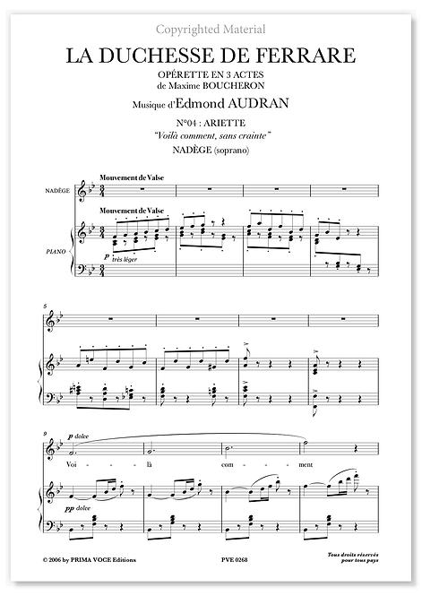 """Audran • DUCHESSE DE FERRARE (LA) • """"Voilà comment, sans crainte"""" (soprano)"""