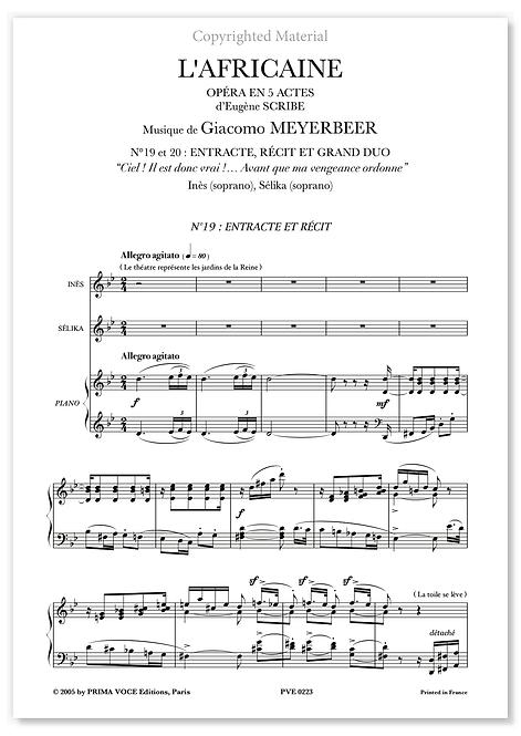 "Meyerbeer • AFRICAINE (L') • DUO ""Avant que ma vengeance ordonne"" (sop./sop.)"