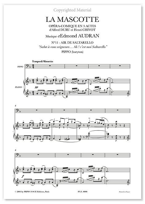 "Audran • MASCOTTE (LA) • ""Ah ! c'est moi Saltarello"" (baryton)"