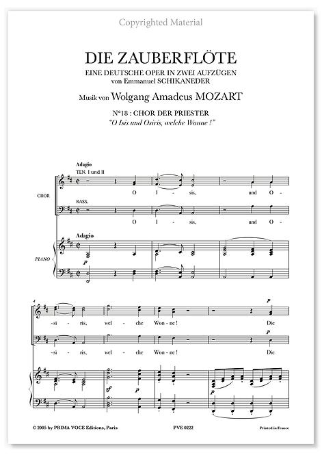 """Mozart • ZAUBERFLÖTE (DIE) • """"O Isis und Osiris, welche Wonne !"""" (choeurs)"""