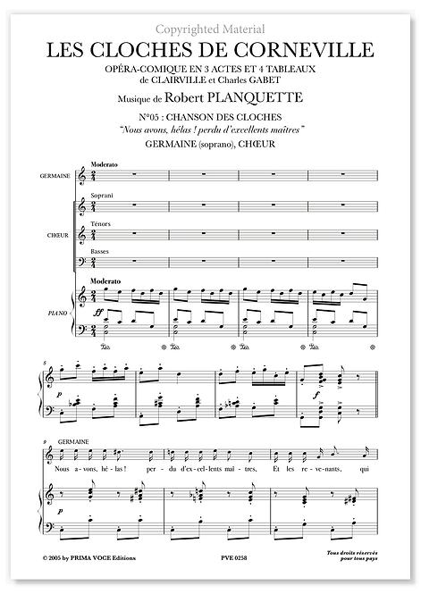 """Planquette • CLOCHES DE CORNEVILLE (LES) • """"Nous avons, hélas !"""" (soprano)"""