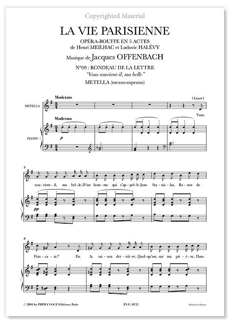 """Offenbach • VIE PARISIENNE (LA) • """"Vous souvient-il, ma belle"""" (mezzo-soprano)"""