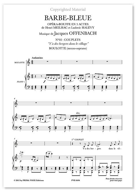 "Offenbach • BARBE-BLEUE  • ""Y'a des bergers dans le village"" (mezzo-soprano)"