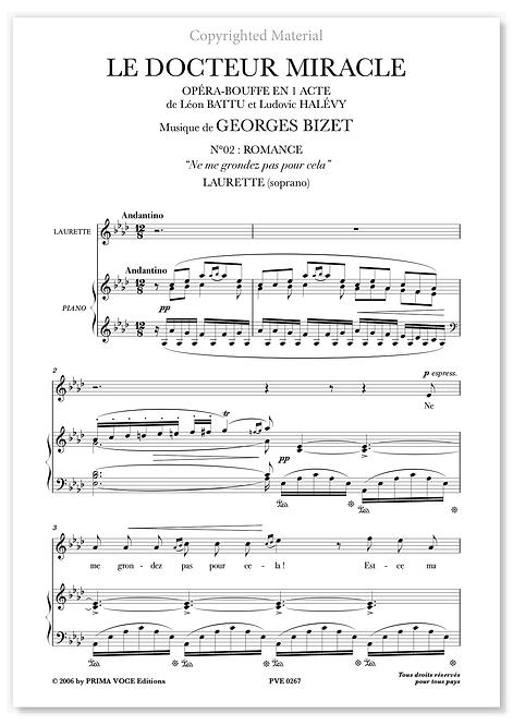 """Bizet • DOCTEUR MIRACLE (LE) • """"Ne me grondez pas pour cela"""" (soprano)"""