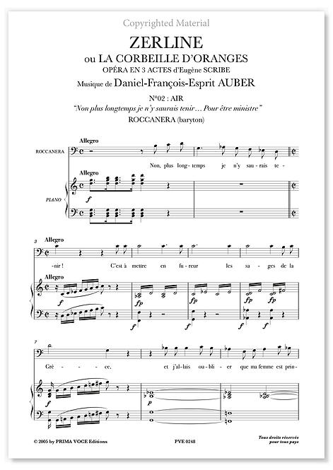 """Auber • ZERLINE • """"Pour être ministre"""" (baryton)"""