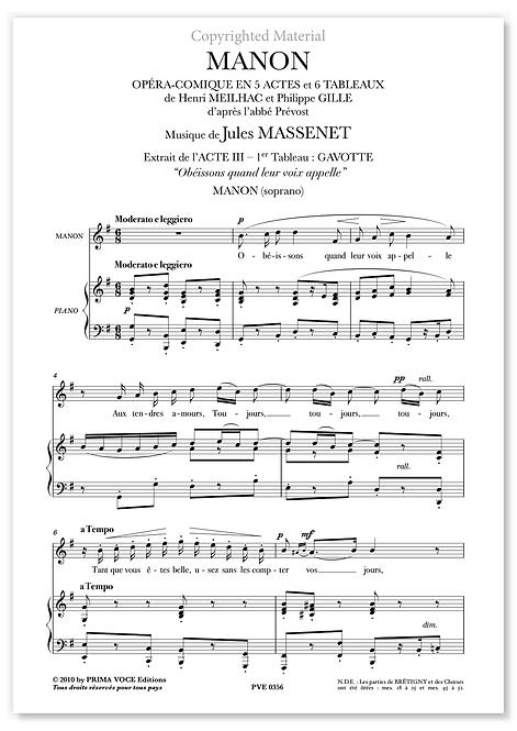 """Massenet • MANON • """"Obéissons quand leur voix appelle"""" (soprano)"""