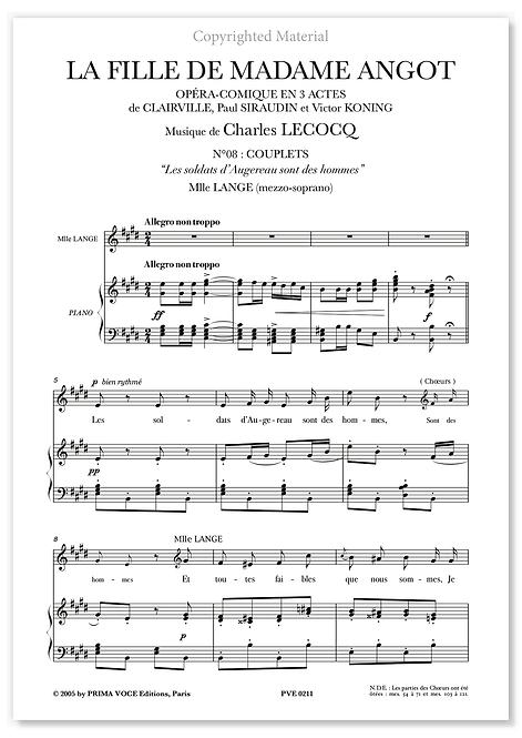 """Lecocq • FILLE DE MADAME ANGOT (LA) • """"Les soldats d'Augereau... (mezzo-soprano)"""