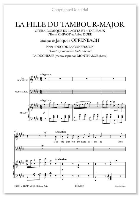 """Offenbach • FILLE DU TAMBOUR-MAJOR (LA) • DUO """"L'autre jour..."""" (mezzo/basse)"""