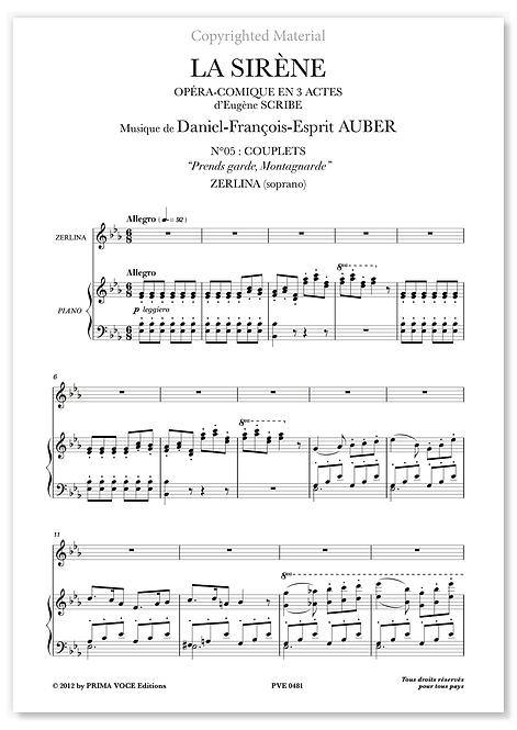 "Auber • SIRÈNE (LA) • ""Prends garde, Montagnarde"" (soprano)"