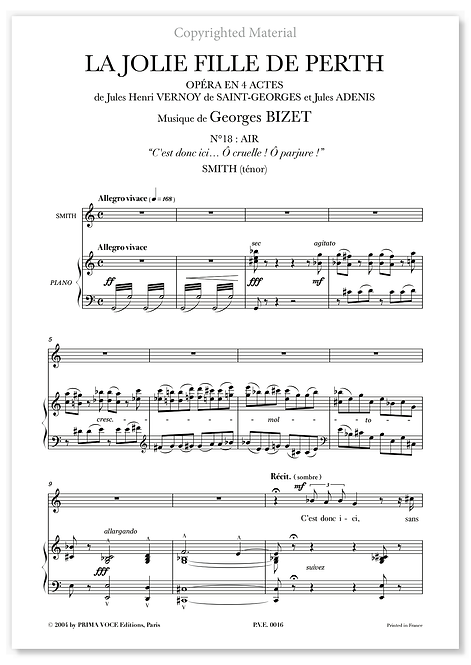 """Bizet • JOLIE FILLE DE PERTH  (LA) • """"Ô cruelle ! Ô parjure !"""" (ténor)"""