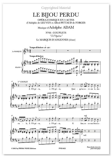 "Adam • BIJOU PERDU (LE) • ""À l'Opéra"" (ténor)"