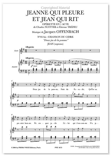 """Offenbach • JEANNE QUI PLEURE ET JEAN QUI RIT • """"Doux jus de la pomme"""" (soprano)"""