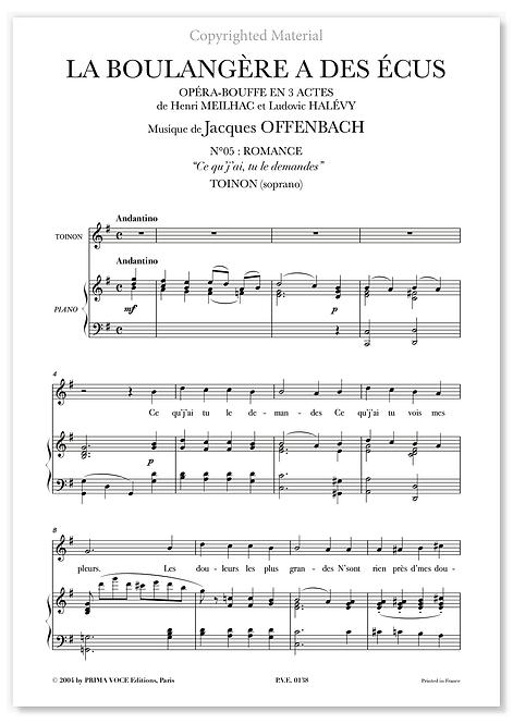 """Offenbach • BOULANGÈRE A DES ÉCUS (LA) • """"Ce qu'j'ai, tu le demandes"""" (soprano)"""