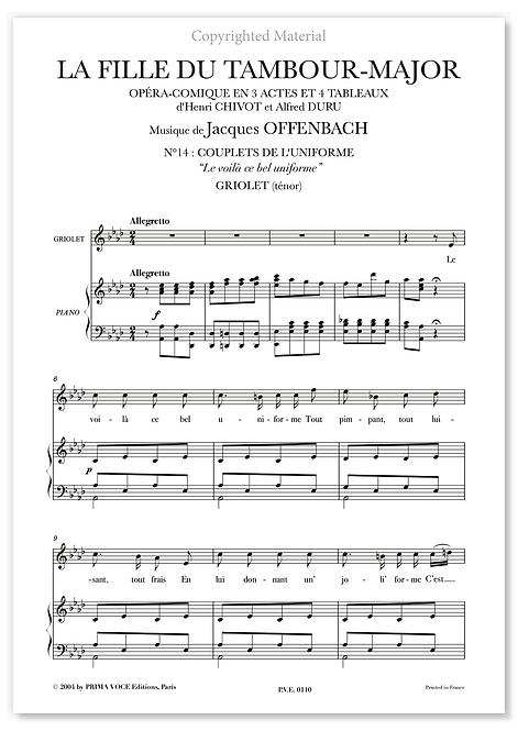 """Offenbach • FILLE DU TAMBOUR-MAJOR (LA) • """"Le voilà ce bel uniforme"""" (ténor)"""