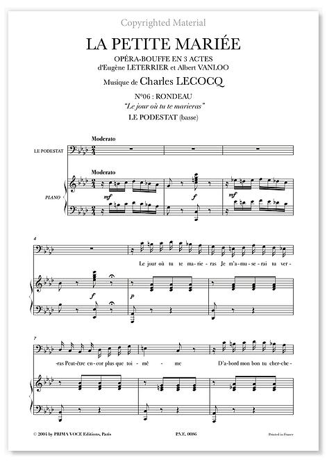 """Lecocq • PETITE MARIÉE (LA) • """"Le jour où tu te marieras"""" (basse)"""