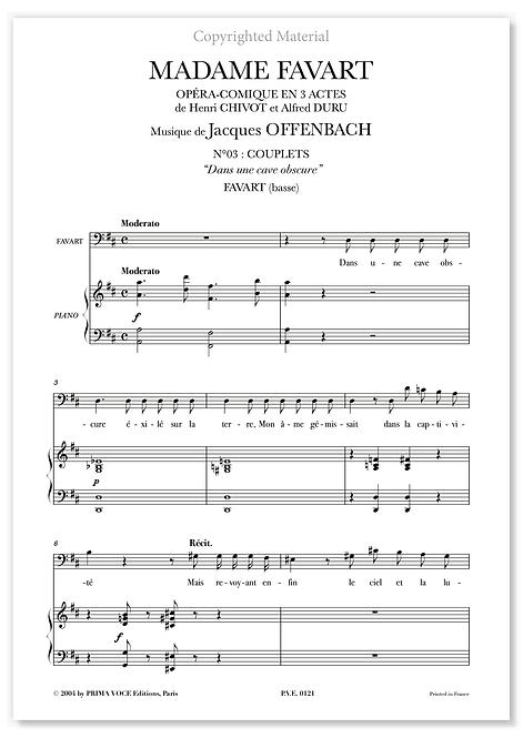 """Offenbach • MADAME  FAVART • """"Dans une cave obscure"""" (basse)"""