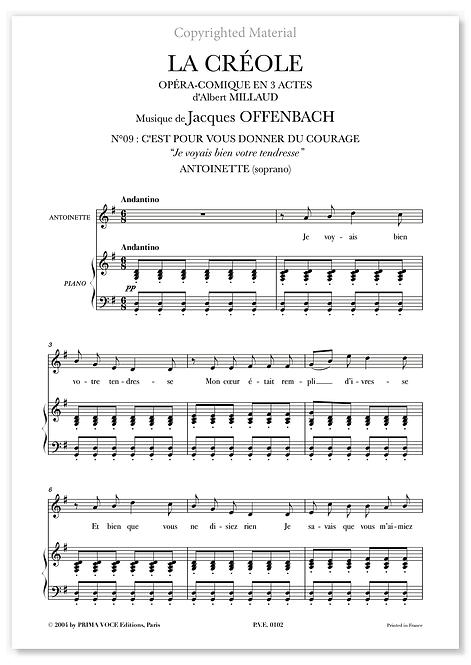 """Offenbach • CRÉOLE (LA) • """"Je voyais bien votre tendresse"""" (soprano)"""