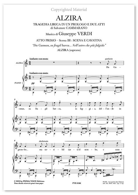 """Verdi • ALZIRA • """"Da Gusman, su fragil barca"""" (soprano)"""
