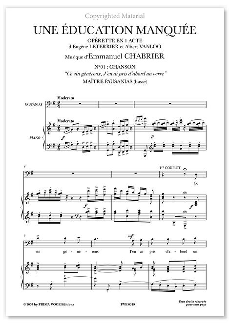 """Chabrier • UNE ÉDUCATION MANQUÉE • """"Ce vin généreux"""" (basse)"""