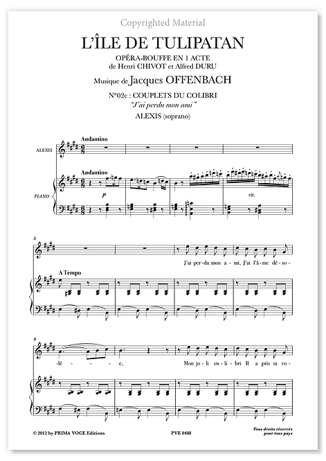 "Offenbach • ÎLE DE TULIPATAN (L') • ""J'ai perdu mon ami"" (soprano)"