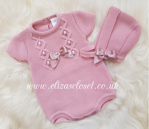 1fd3bc345 Spanish Style Baby Girls Dusky Pink Knitted Romper & Bonnet