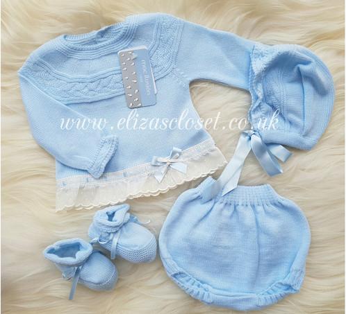 ae93cb0efd7f Spanish Baby Boys Blue Knitted 4 Piece Set