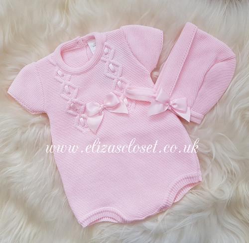 6ecd304d1 Spanish Style Baby Girls Pink Knitted Romper & Bonnet