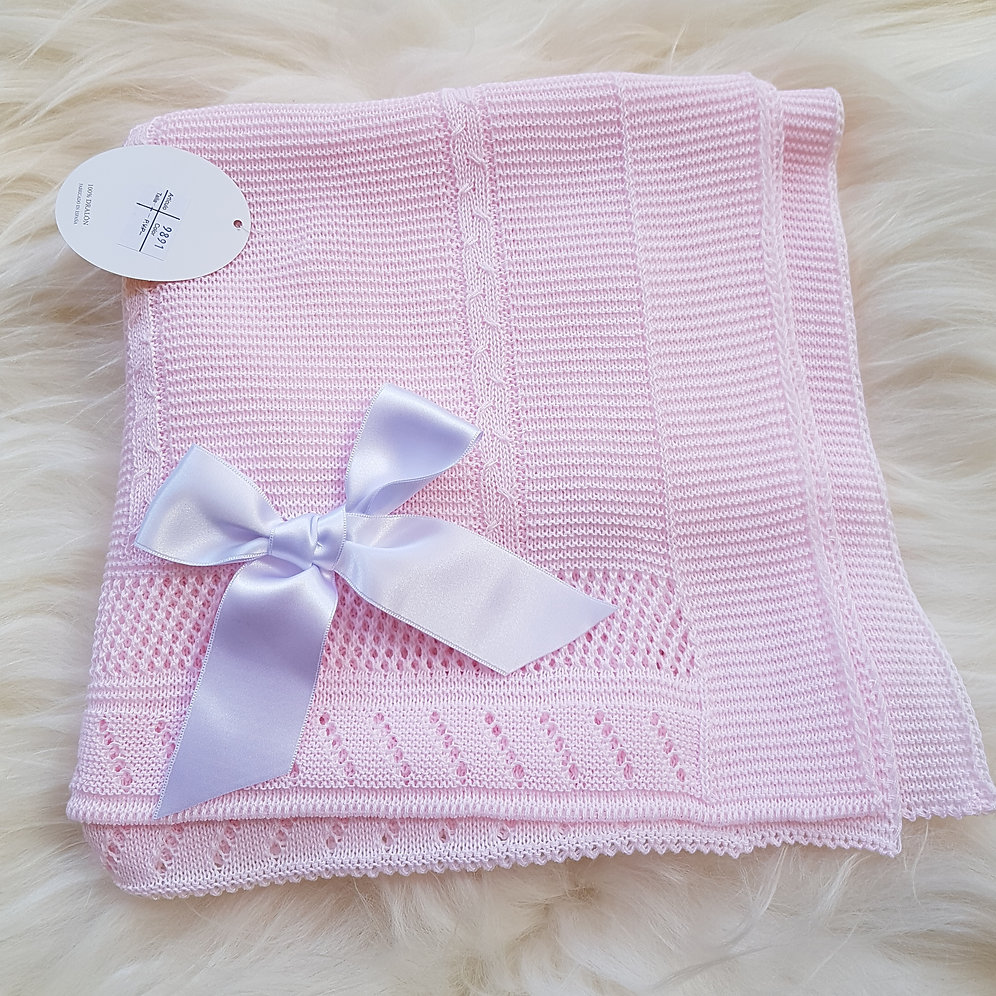 Fine Knit Spanish Bow Blanket - Pink