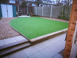 Artificial grass and path