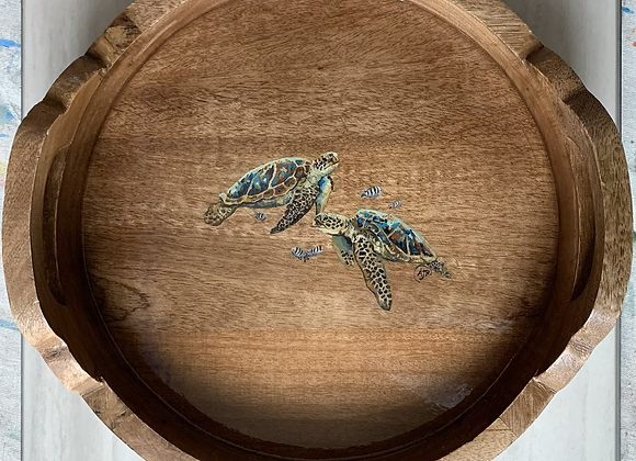 Sea turtles with fish hand carved wood tray