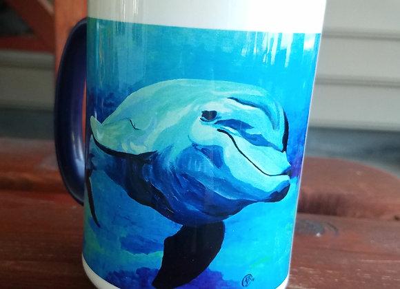 Dolphin 15 oz Navy coffee mug