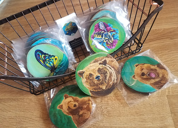 Butterfly and Bear coasters-Rustic Muffin
