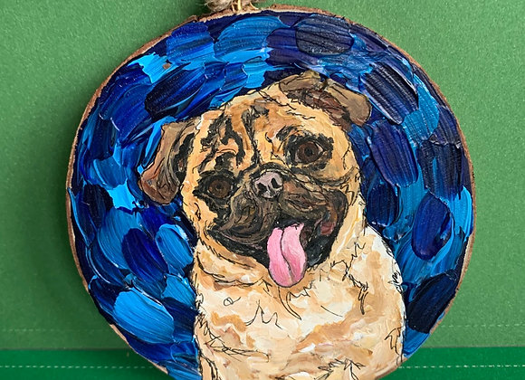 Pug dog hand painted ornament