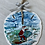 Thumbnail: Santa Clause surfing a wave sand dollar ornament