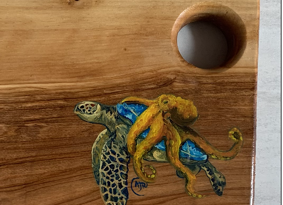 Sea turtle and octopus cutting/charcuterie board