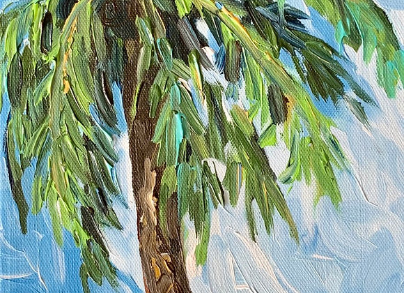 Palm tree acrylic painting by Amber Ruehe