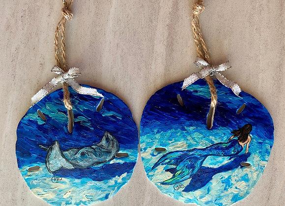Sand dollar seashell ornaments