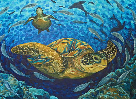Custom Sea turtle, spiral fish and seals by Amber Ruehe