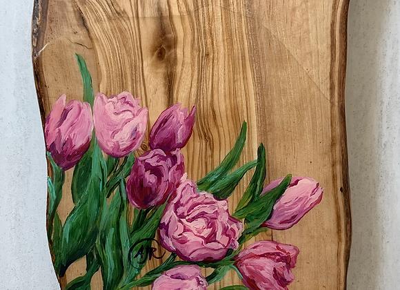 Tulip flowers Olive wood charcuterie board